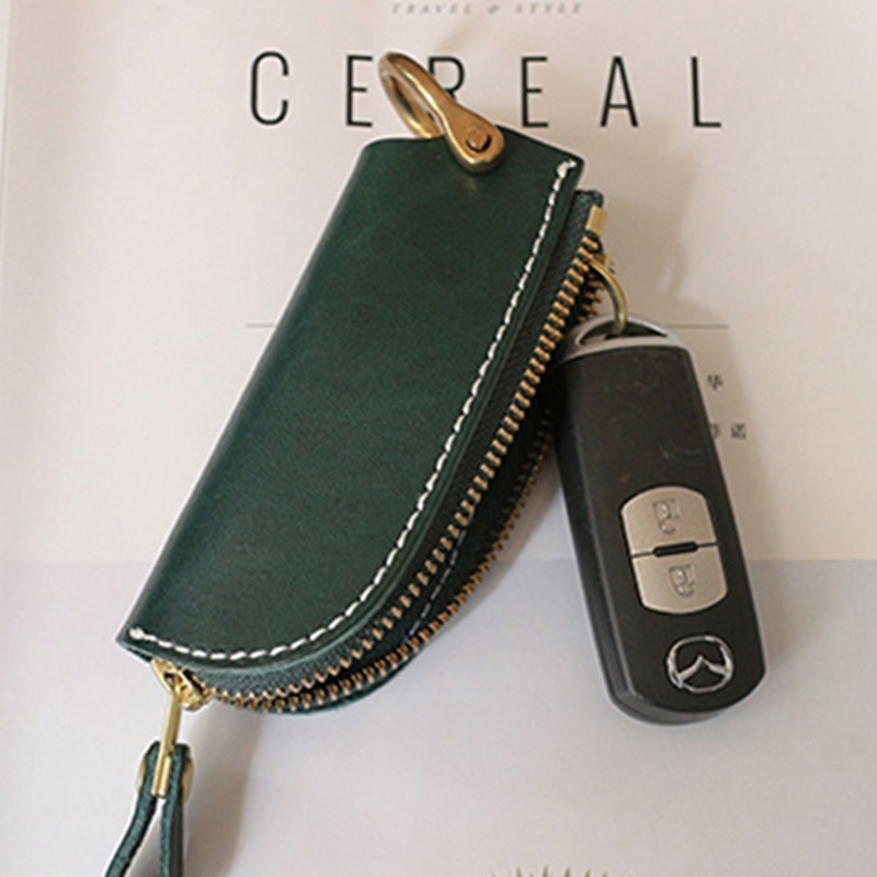 Original Italian vegetable tanned leather key case male first layer cowhide handmade zipper car key case horseshoe buckle female  - buy with discount