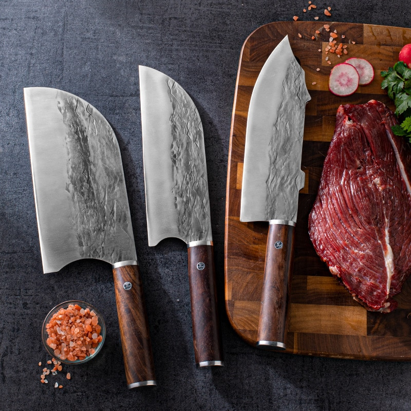 Longquan Forged  Chopping Knife Kitchen Knife Chef's Knife Stainless Steel Meat Vegetable Knife Fishing Knife Cooking Knife
