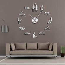 Bachelorette Kama Sutra DIY Erwachsene Zimmer Dekorative Riesen Wanduhr Sex Liebe Position Rahmenlose Große Wanduhr Kunst