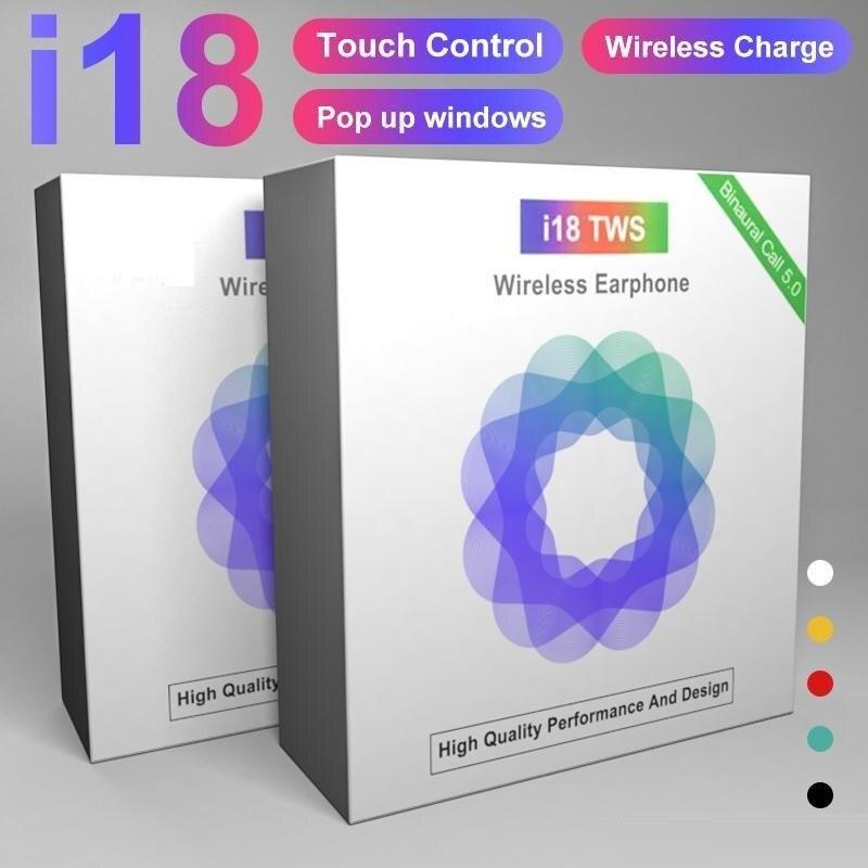 Auriculares I18 TWS Bluetooth 5,0, auriculares inalámbricos con Control táctil de sonido 3D para iphone PK I10 I12 I14 TWS
