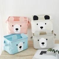 cartoon ear bear desktop square box toy sundries cotton linen cosmetic underware storage box for office home organizer storage
