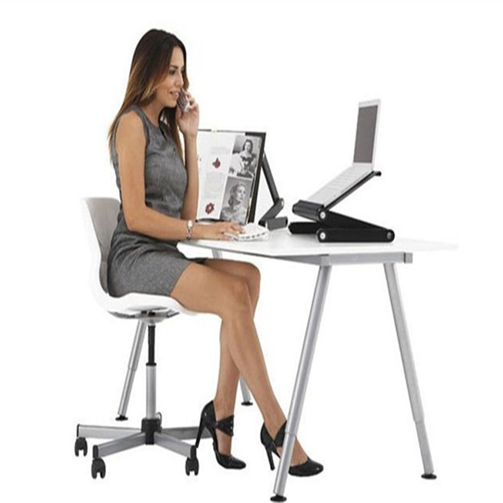 nb fc35 190cm computer sit stand work station desk mount laptop table stand monitor ergonomic desktop with keyboard plate Laptop Table Cooling Pad Computer Table Laptop Stand with Adjustable Folding Ergonomic Design Stand Notebook Desk