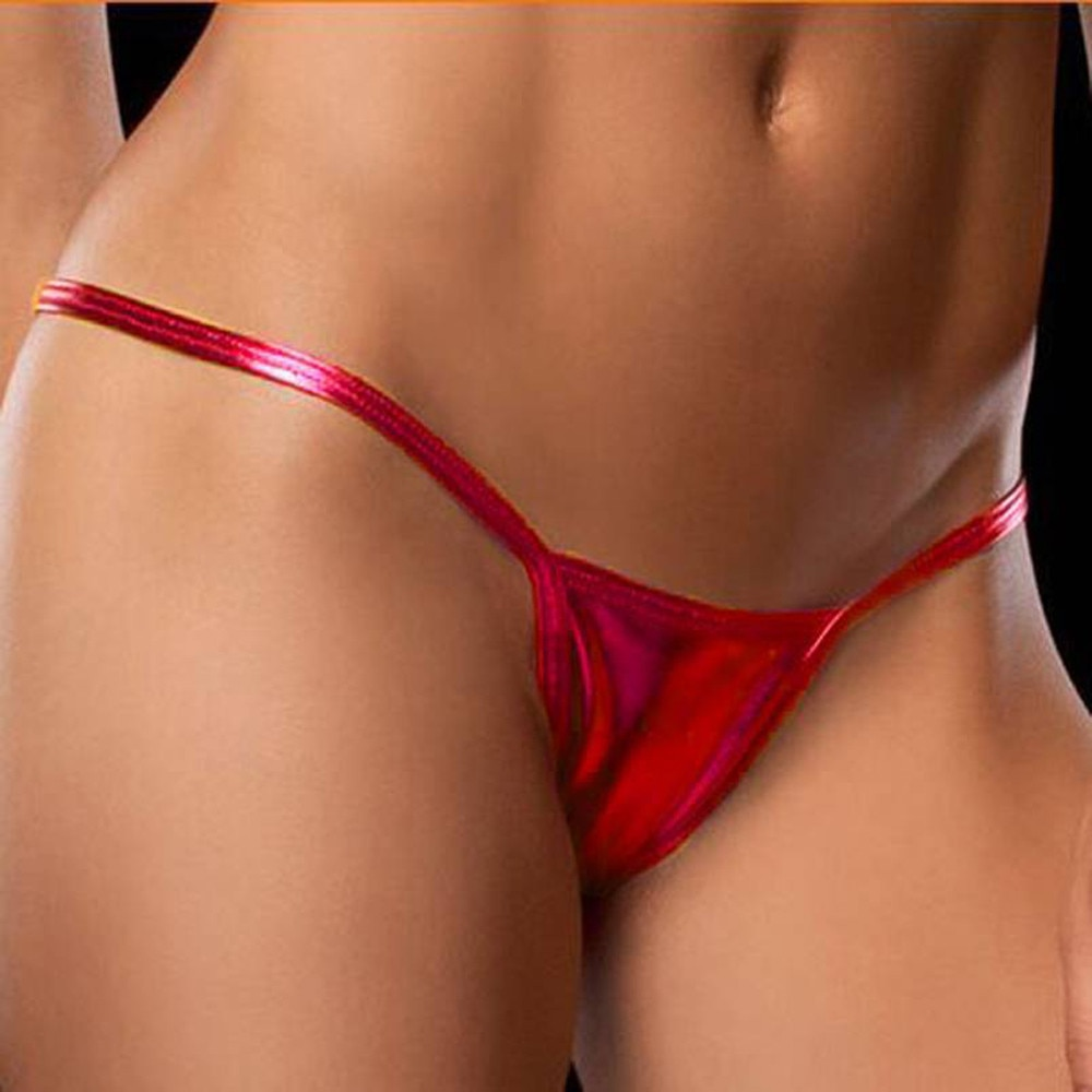 Women's Sexy Bare Imitation Leather Thong G-String Seamless Panty Women Underwear Intimates Hollow O
