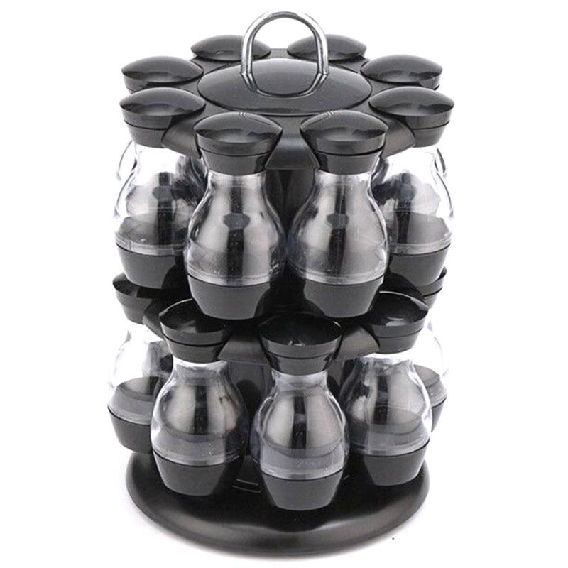 طقم بهار دوار 360 درجة ، 16 قطعة ، برطمان توابل ، زجاجة بهار ، إبريق زجاجي ، قهوة ، سكر ، حاوية بعجلات