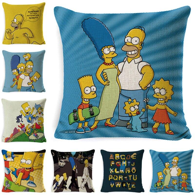 Simpsons-housse de coussin heureux en lin, pour la famille, Super doux, pour la décoration de la maison, taie doreiller sans noyau, 45x45cm, taie doreiller