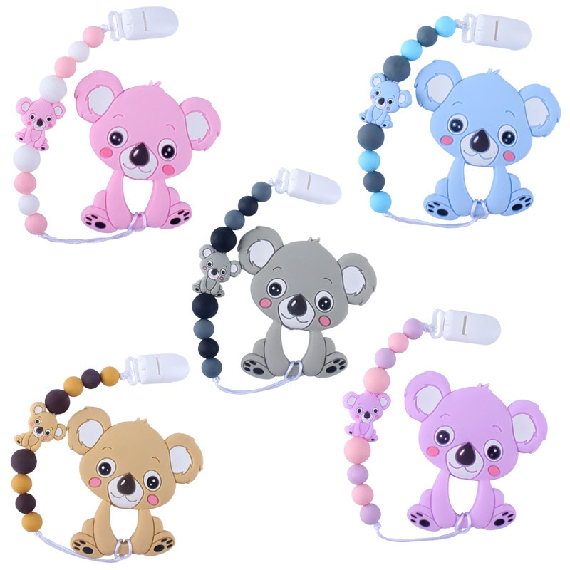 2020 New Baby Silicone Beads Cartoon Koala Teether Silicone Beads DIY Toy Nipple Clip Children Toddl