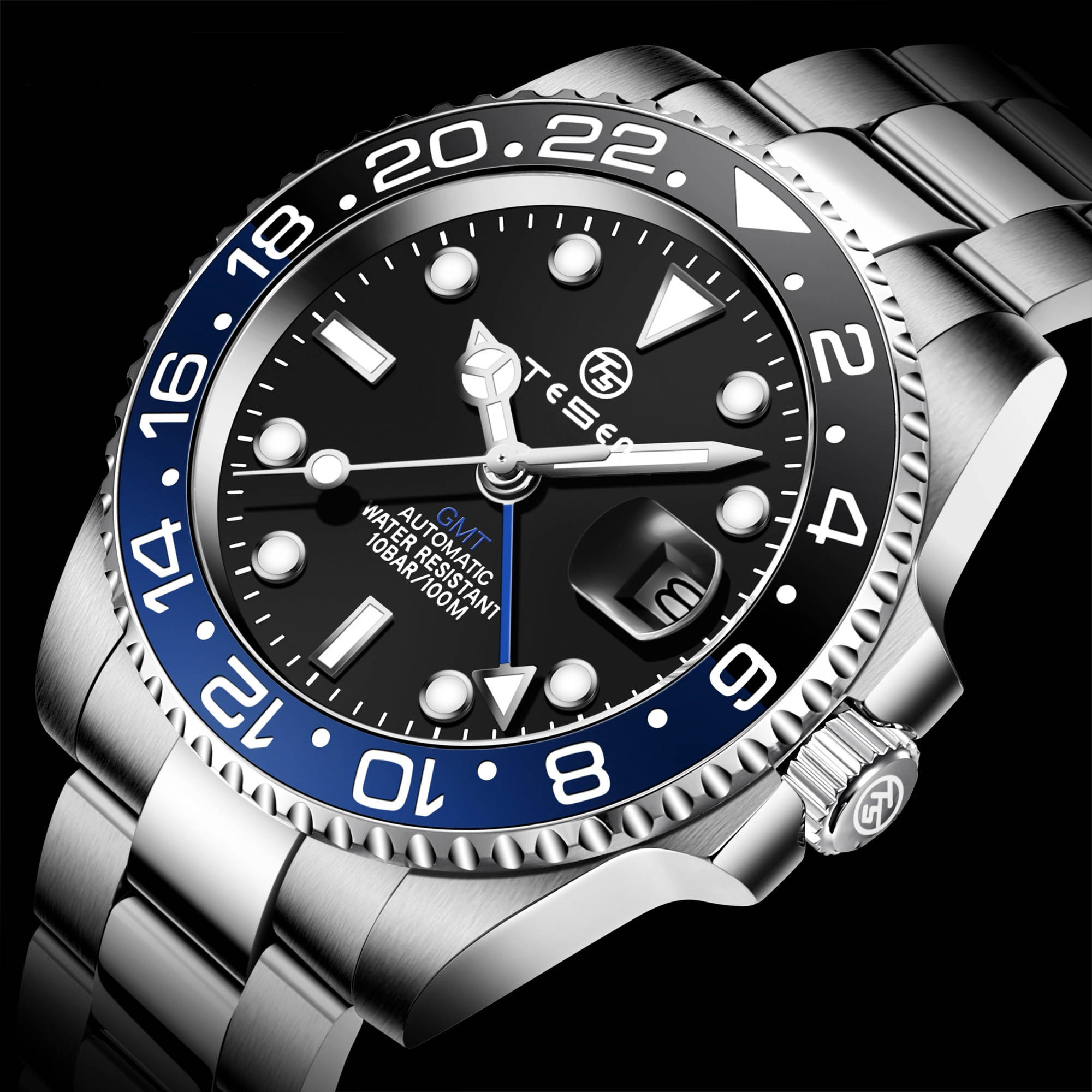 TESEN DESIGN 2021 GMT Men's Mechanical Watches Men Top Luxury Brand Automatic Mechanical Stainless S