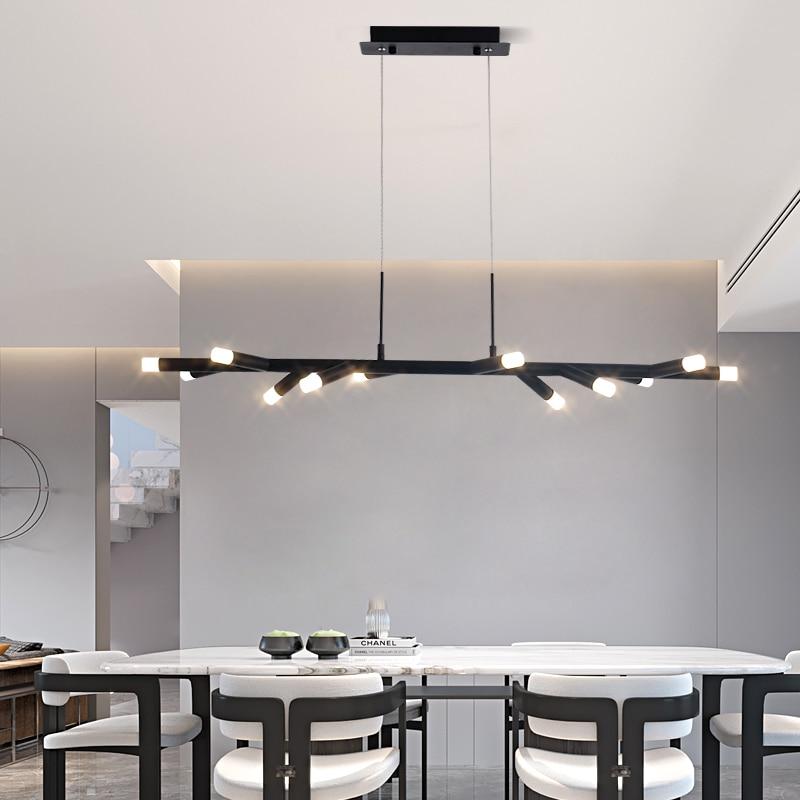 Luces colgantes creativas negras/marrones, lámpara colgante de diseño de poste largo, lámpara colgante de decoración de arte nórdico para Bar, comedor, café