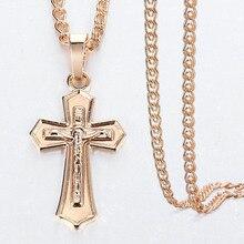 Mens Womens 585 Rose Gold Kreuz Kruzifix Jesus Anhänger Halskette Mode Schmuck Weihnachten Geschenke DGP405