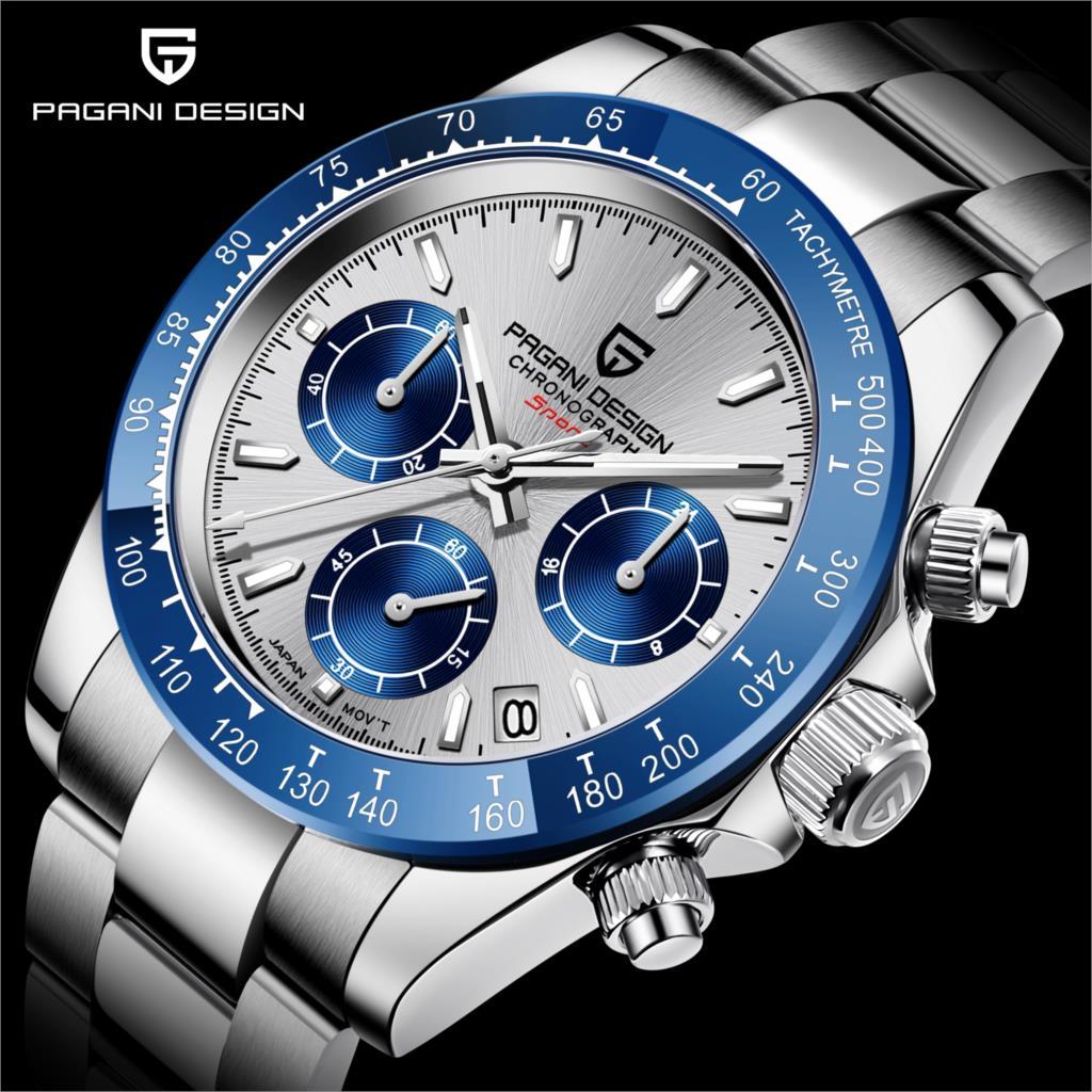 2021 Nen العلامة التجارية الفاخرة PAGANI تصميم ساعة كوارتز رجالية الفولاذ المقاوم للصدأ مقاوم للماء الرياضة ساعة كرونوغراف للرجال Reloj Hombre