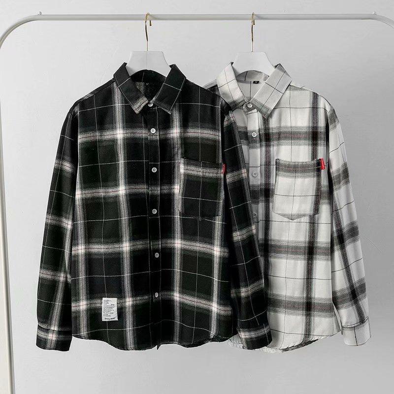 Мужская рубашка с длинным рукавом, белая и черная Повседневная рубашка в клетку, в Корейском стиле, весна-осень 2021