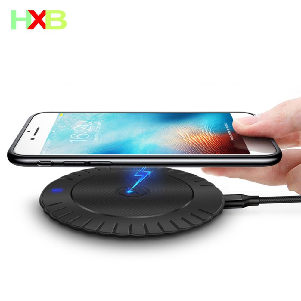 HXB cargador inalámbrico Qi cargador inalámbrico para iPhone 11 Pro max X XR XS 8 PLUSE Samsung S8 S9 S10 Huawei P30 xiaomi mi 9 10