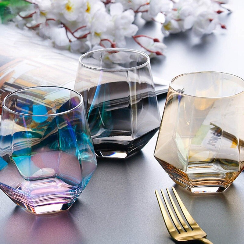 A Household Non-Slip Water Glass Cup for Coffee Milk Diamond Hexagonal Whiskey Cocktail Beer Glass Transparent Glass Cup Glass  - buy with discount