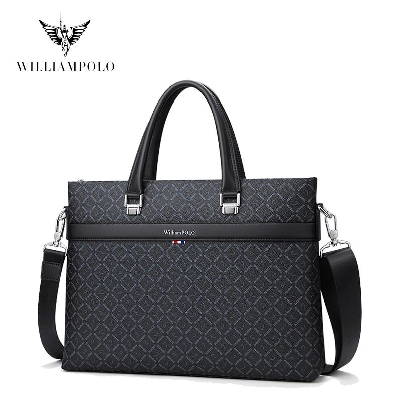 WILLIAMPOLO Men's Bag Fashion Laptop Bag 13'' Removable Strap Bag For Documents Men's Briefcase Handbags For Male FS203060