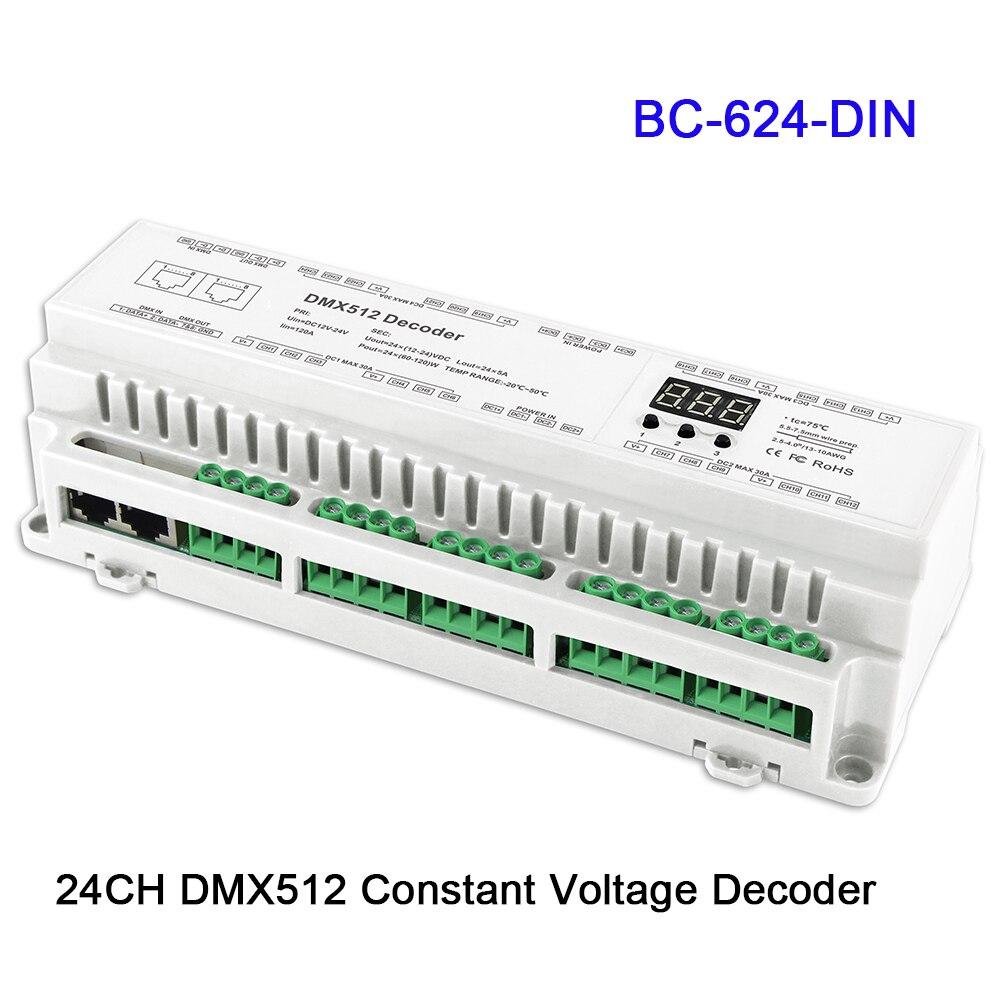 BC-624-DIN/BC-632-DIN/BC-640-DIN 24/32/40CH DMX512/8bit/16bit المدخلات DC12V-24V RJ45 ربط LED RGB/RGBW قطاع مصباح فك