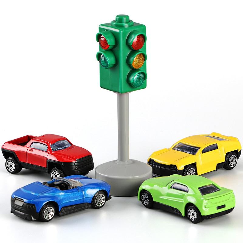 Crianças brinquedos mini sinais de trânsito luzes modelo com música led lâmpada de segurança brinquedos educativos para crianças meninos plástico tráfego luz