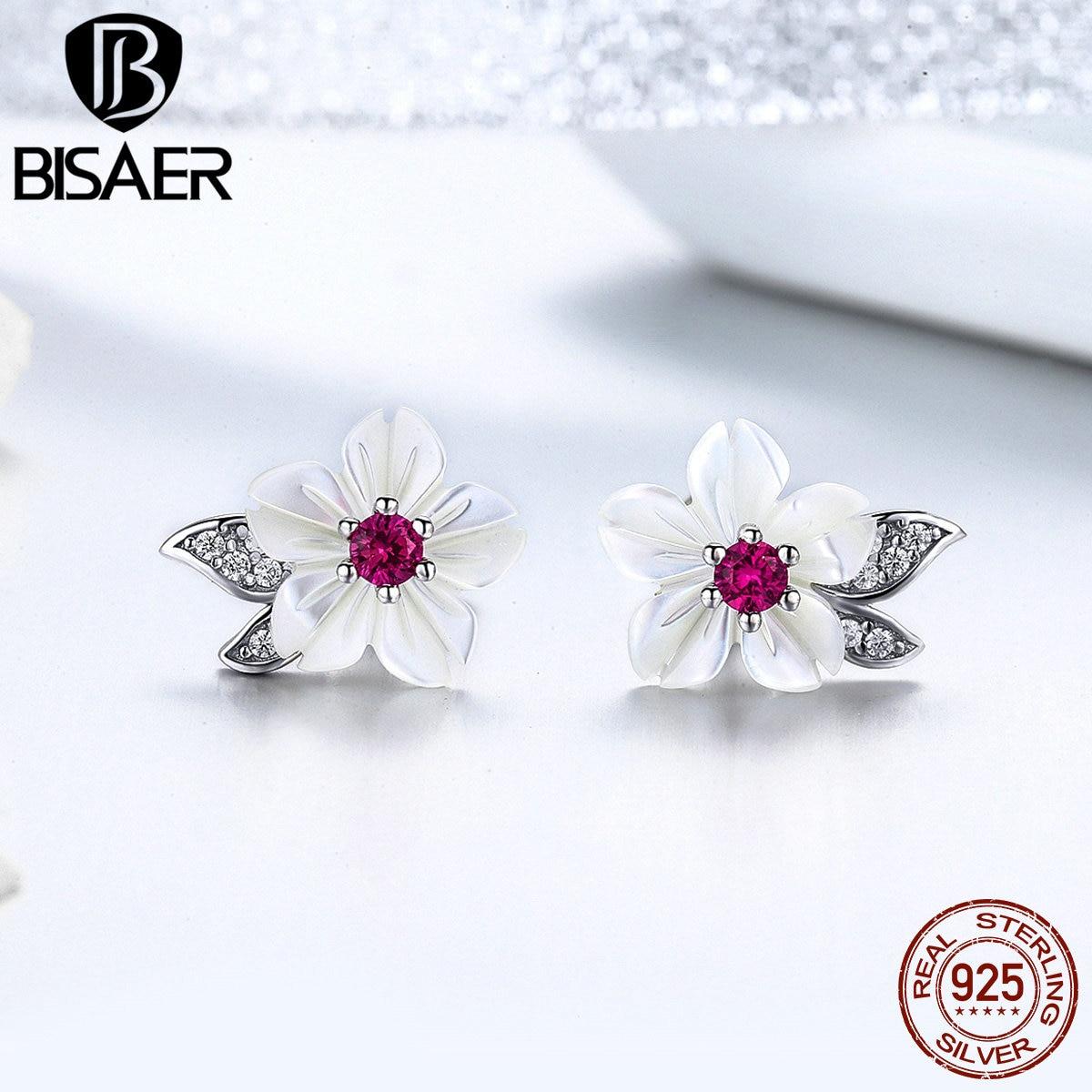 BISAER 925 Sterling Silver Blooming Shell Flower Stud Earrings Orchid Flower Small Women Earrings Sterling Silver Jewelry EFE055