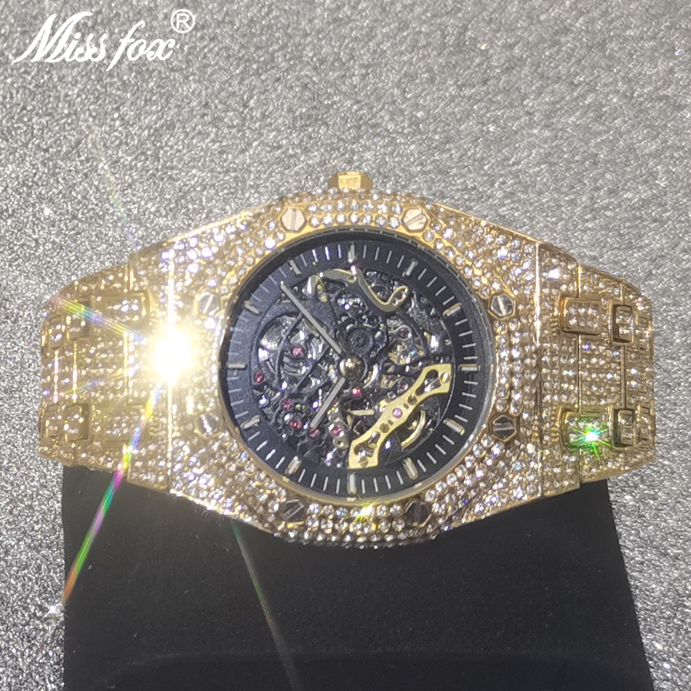 Top Design MISSFOX Brand Men's Watches Luxury Automatic Gold Business Watch Full Steel Transparent Mechanical AAA Male Clocks