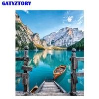 gatyztory frame lake diy painting by numbers kit handpainted oil painting wall art picture by numbers for living room home decor