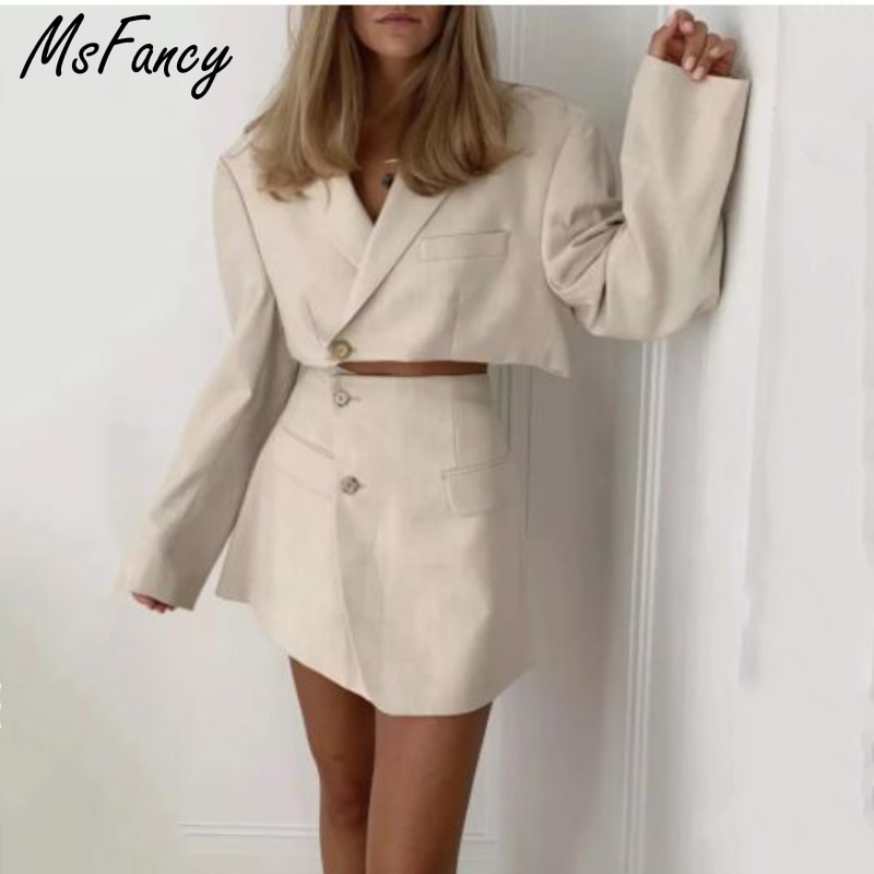 Msfancy Summer Skirs Sets Women 2021 Elegant Long Sleeve Loose Blazer High Waist A-line Mini Skirt Suits Mujer Two Piece Set