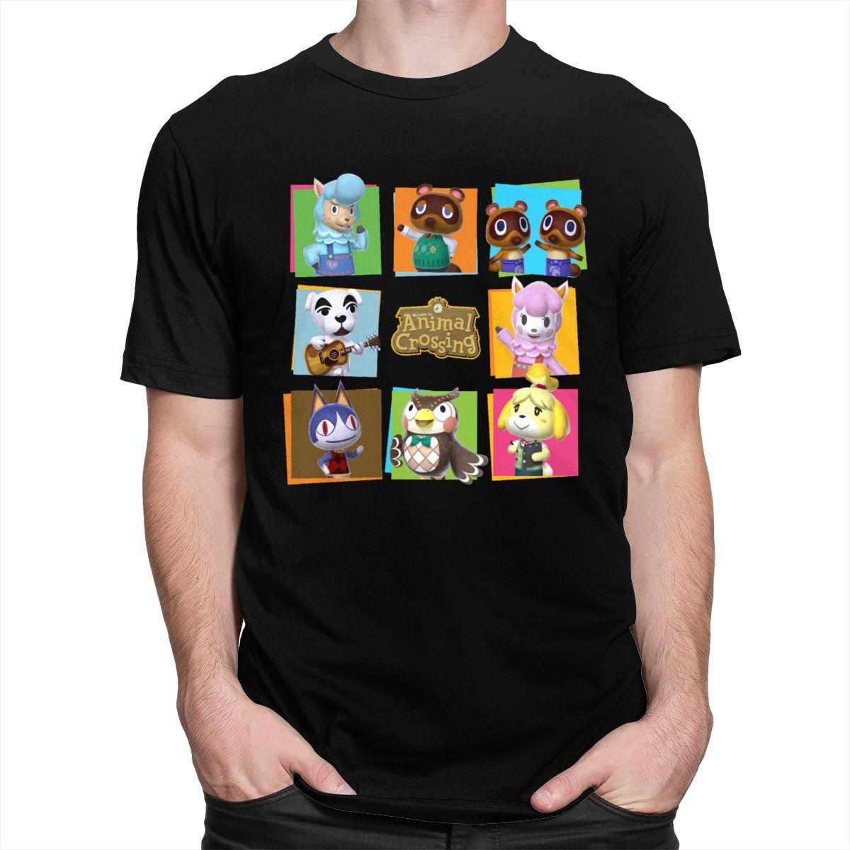 Animal croisement groupe T-shirt hommes 100% coton jeu vidéo t-shirts col rond manches courtes imprimé T-shirt Merch Gaming amant vêtements