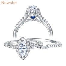 Newshe 2 Stuks 925 Sterling Silver Wedding Engagement Ring Set Voor Vrouwen Marquise Cut Wit Aaa Zirconia Sieraden BR0826