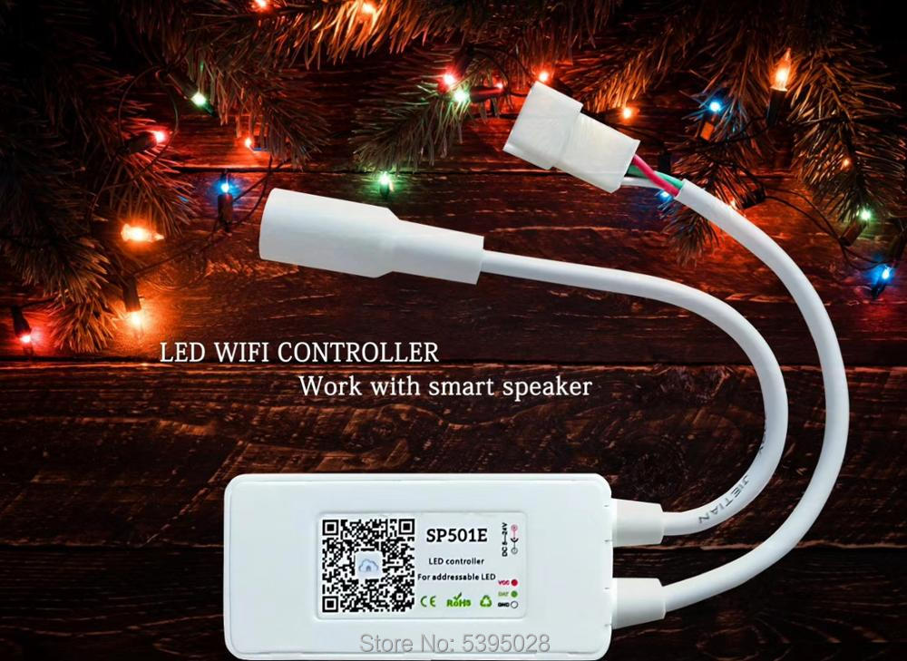 SP501E appsmart voice wifi controlador direccionable RGB tira Amazon Alexafor led ws2812bws2811 dc5-24v