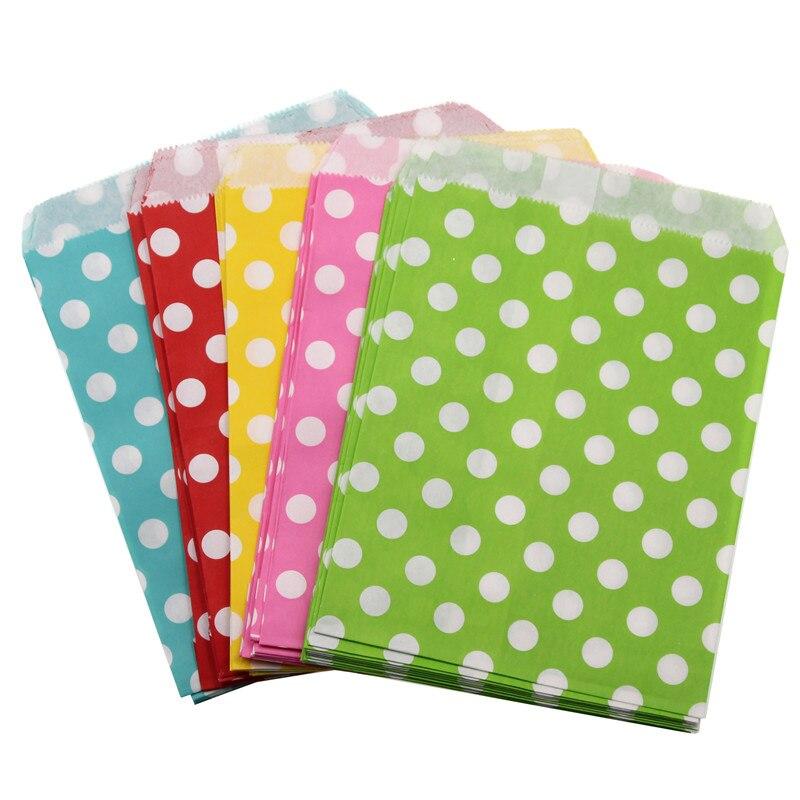Купить с кэшбэком 25/50/100pcs Kraft Paper Bags Candy Gift Bags Food Packaging Bag Wedding Favor Baby Shower Birthday Party Decoration Treat Bags