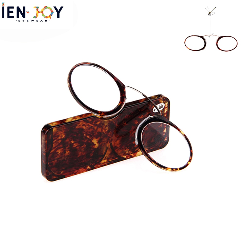 Mini gafas de lectura IENJOY, luz para lectura con Clip TR, gafas de lectura de alta calidad, billetera portátil para hombre, gafas presbiópicas con estuche