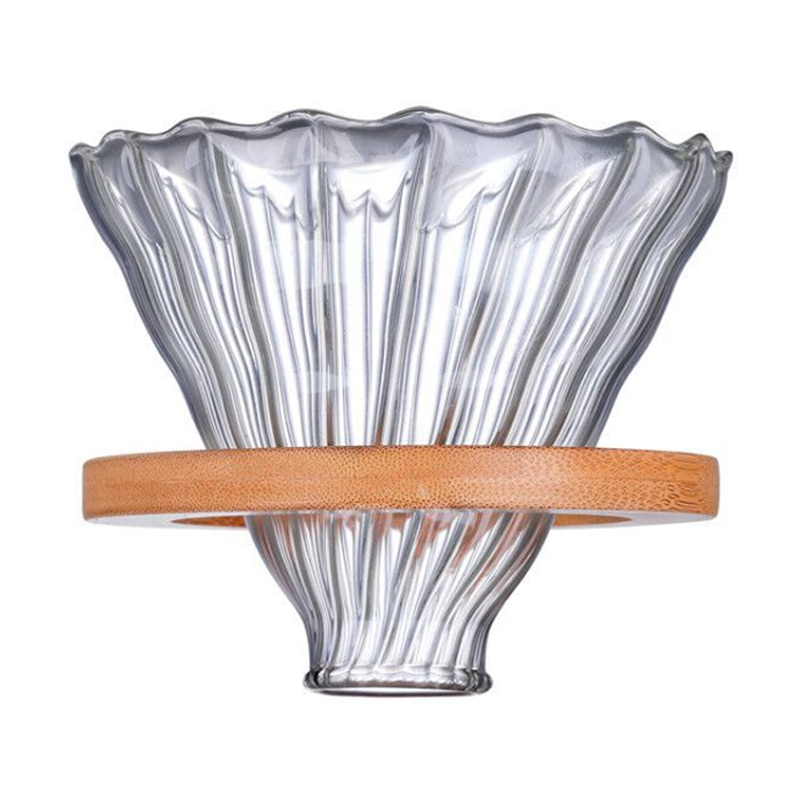 Nouveau-filtre à café en bois filtres réutilisables V60 verre pour Hario Style filtre à café en verre entonnoir à café réutilisable