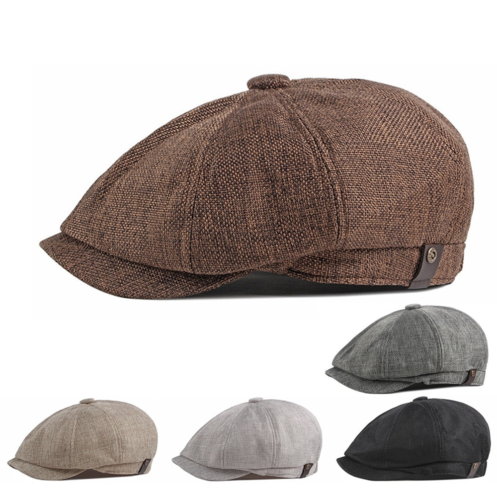 2021 New Men's Casual Newsboy Hat Spring and Autumn Thin Retro Beret Hat Fashion Wild Casual Hat Uni