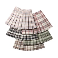 summer women pleated skirt high waist a line female plaid skirts preppy style ladies girls mini skirt harajuku cute woman skirts