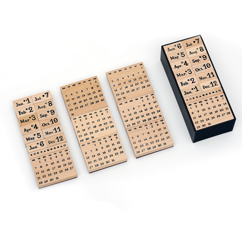 ERAL solid wood customization calendar Seal set. A set of 20 pieces, packed in a gift box. A good partner to keep a diary.