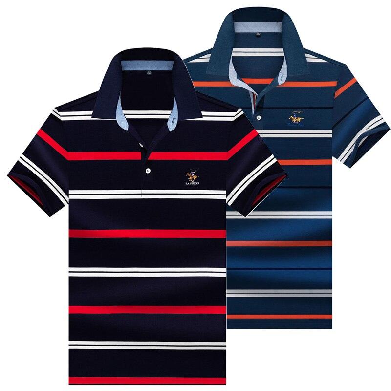 2020 verano camisa Polo de manga corta hombres 3D bordado 95% algodón cómodo rayas polos Casual negocios camisetas de Polo