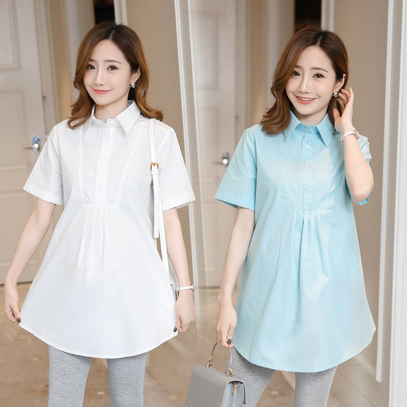 Maternity Blouses Pleated Long Short Sleeve Shirts Clothes for Pregnant Women Breastfeeding Dresses Pregnancy Clothing Plus Size enlarge