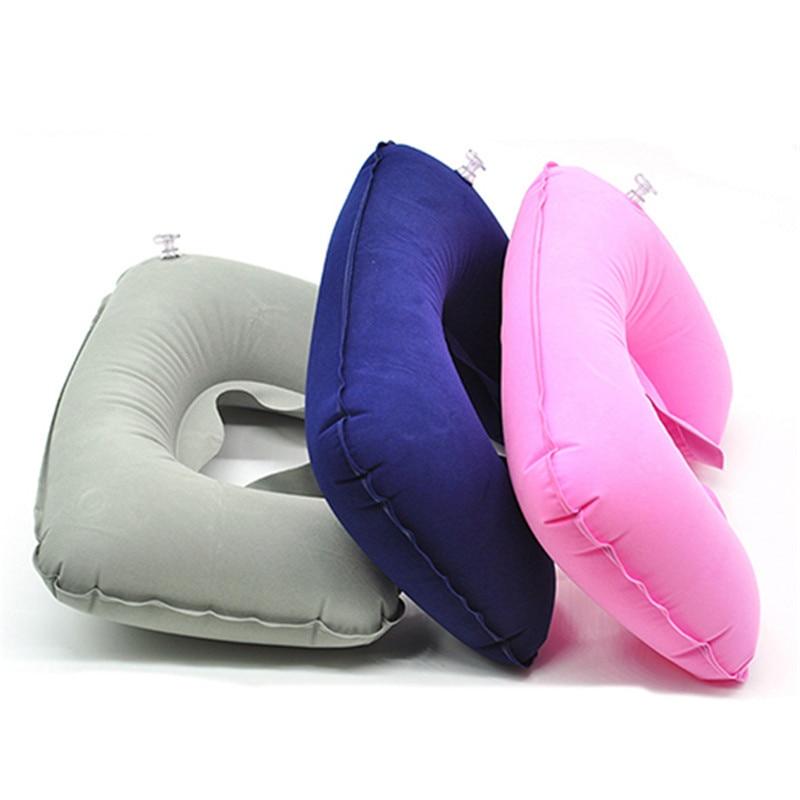 1Pc Portable Inflatable U Shape Pillow Travel Air Cushion For Neck Car Head Rest Plane Flight Drop Shipping