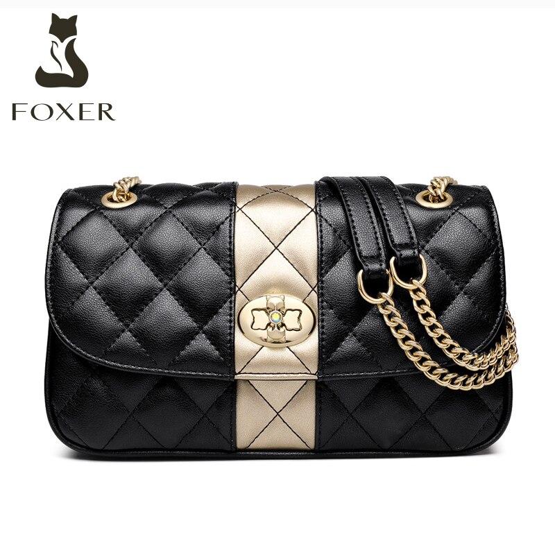 FOXER-حقيبة كتف من جلد البقر للنساء ، حقيبة يد كلاسيكية صغيرة ، حقيبة كتف ، حقيبة سفر أنيقة
