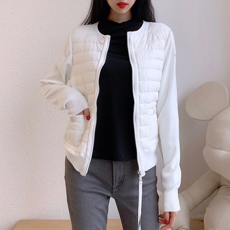 Autumn Spring Fashion Knit Down Jacket Women Winter Jacket Ladies Long Sleeve Patchwork Knitted Zipper Down Jacket
