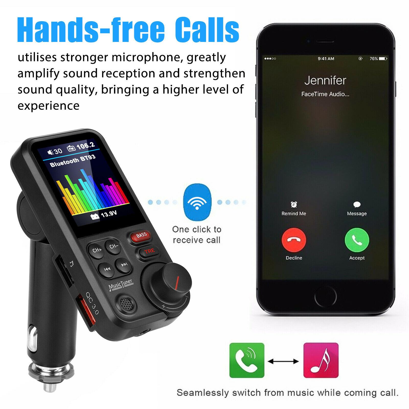 بلوتوث سيارة فم الارسال مشغل MP3 الأيدي الحرة محول للراديو 2 شاحن يو اس بي