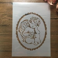a4 29cm angel baby diy layering stencils wall painting scrapbook embossing hollow embellishment printing lace ruler