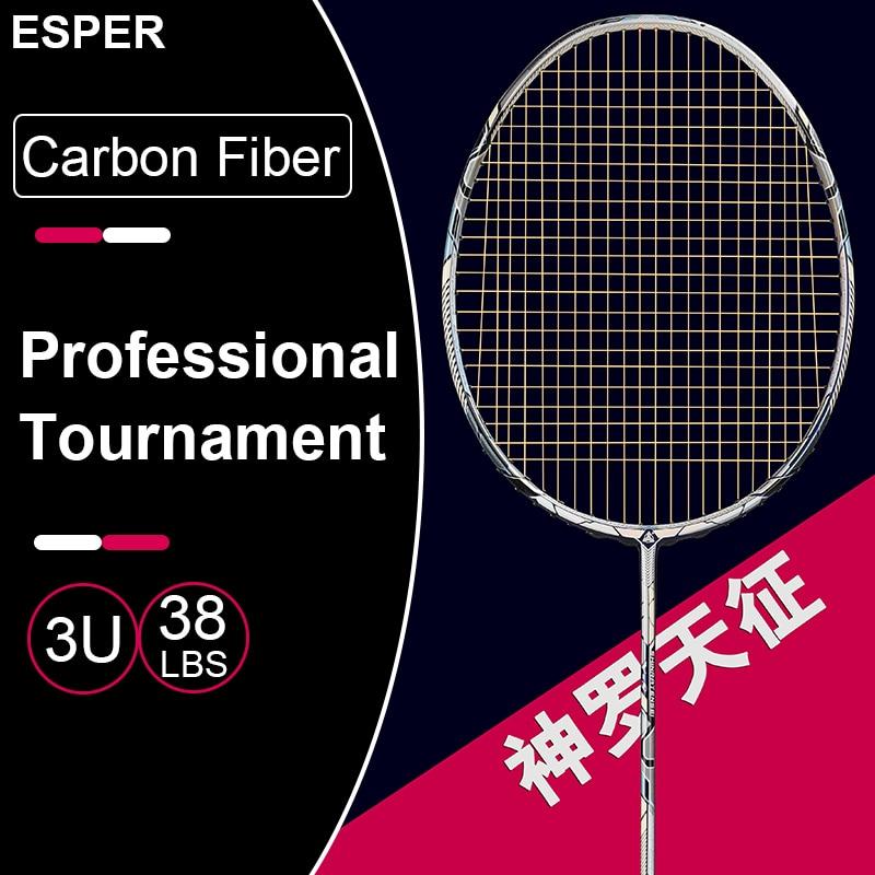 ESPER V8 Top Badminton Racket  Professional 3U Lightweight 55T Graphite Carbon Fiber Racquet for Tounament with String Bag Gifts