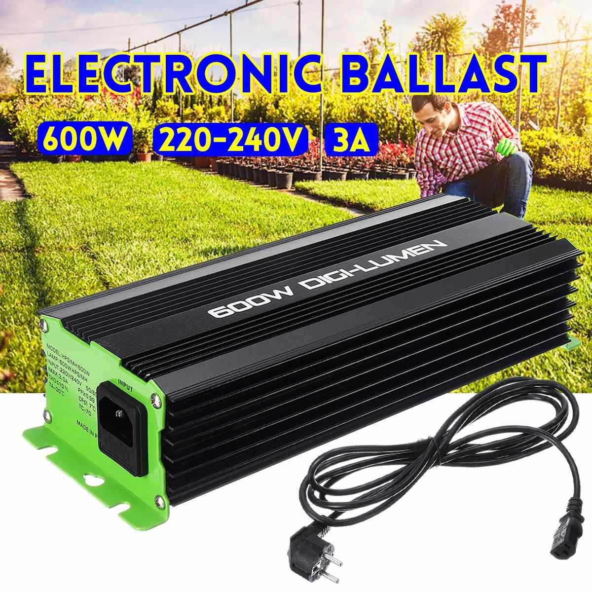 Digital 600W Ballasts for Garden Planter Grow Lights HPS MH Bulbs Electronic Dimmable EU PLUG 3A 220-240V