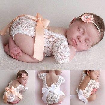 Bébé barboteuse profonde V dos nu vêtements nouveau-né Photo photographie dentelle enfant en bas âge conception creuse vêtements