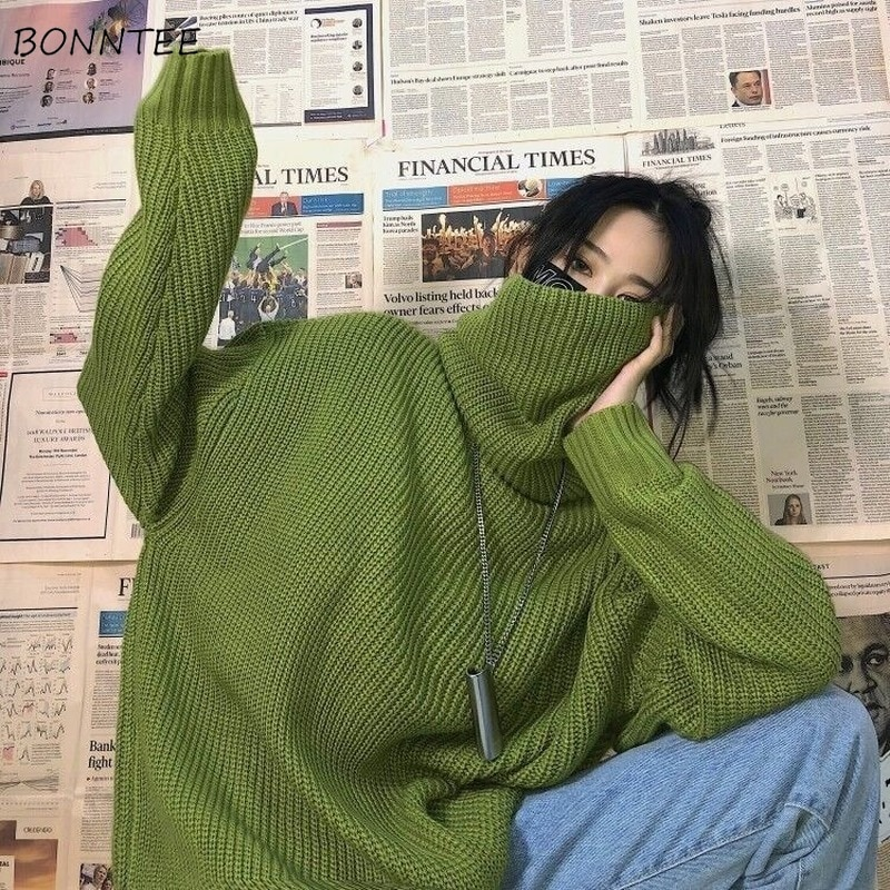Turtleneck Sweaters Women BF Style Oversized Chic Green Fresh Winter Femme Pullover Simple Sweet Pure Harajuku Ins Teens Sweater