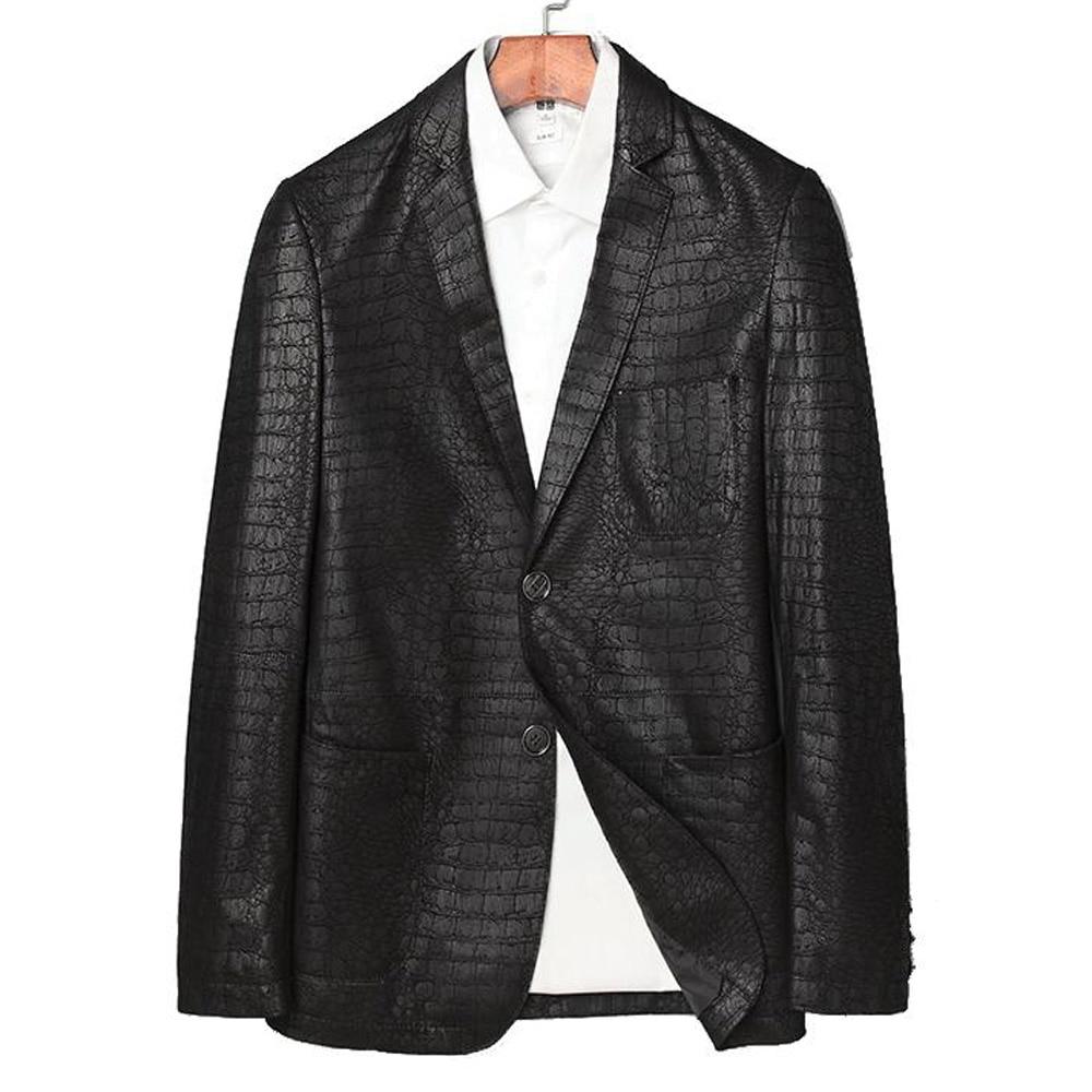 طباعة Flaunty التمساح حقيقية جلد الغنم الرجال سترة ذكر العادية معطف عارضة الرجال الجلد الطبيعي الربيع سترة L-4XL