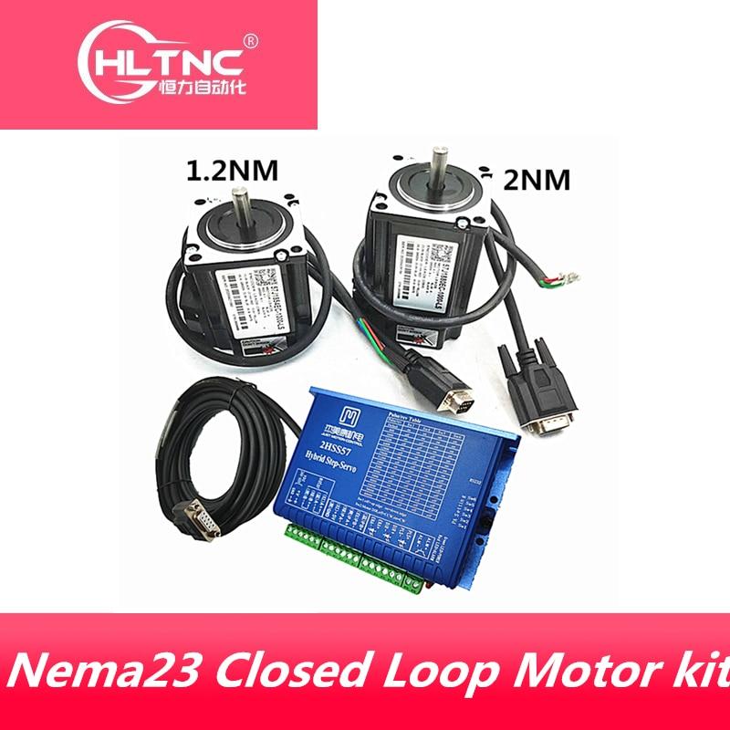 Free shipping JMC Nema 23 1.2N.m 2Nm Closed Loop servo Motor+ Servo Driver 2HSS57+ encoder cable +350w 60v POWER supply for CNC