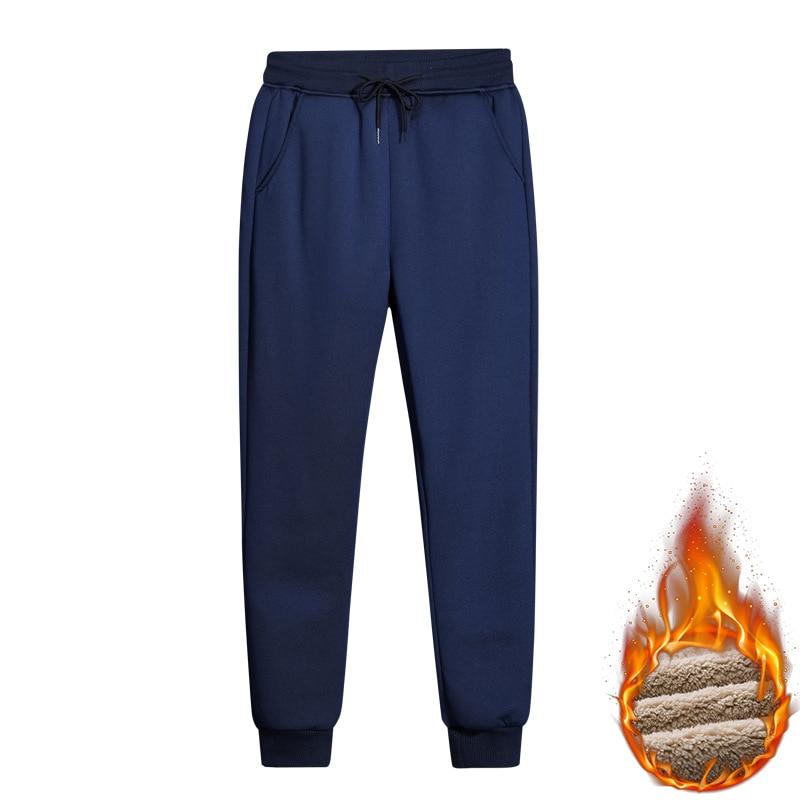 Мужские зимние утепленные брюки, темно-синие повседневные свободные утепленные брюки, модная мужская одежда, уличная одежда