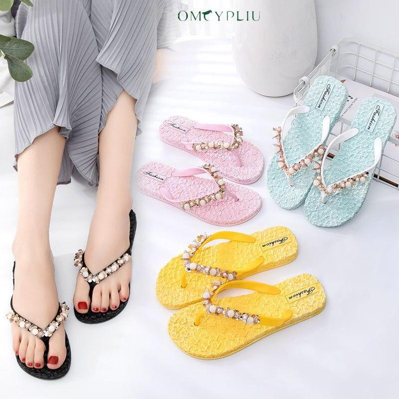 2021 Summer Sequins Massage Shoes Woman Sandals Women Slippers Beach Shoe Casual Plus Size Flats Lad