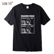 XIN YI Men's High Quality 100% cotton Interesting programmer print t shirt loose o-neck men tshirt short sleeve t-shirt male tee