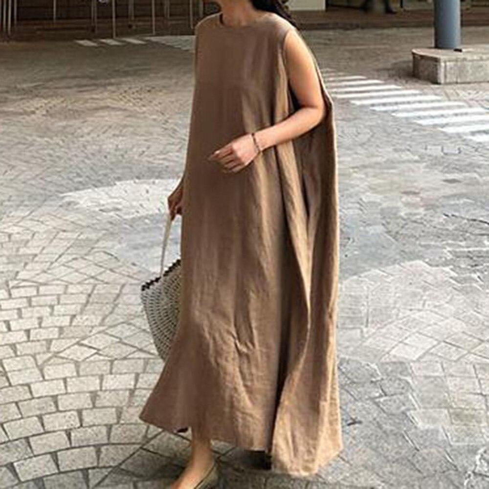 Elegante vestido de talla grande para mujer, estilo coreano, color caqui, informal y largo, minimalista, de talla grande, para verano